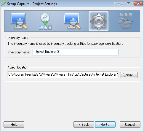 Setup Capture - Project Settings - Internet Explorer 9