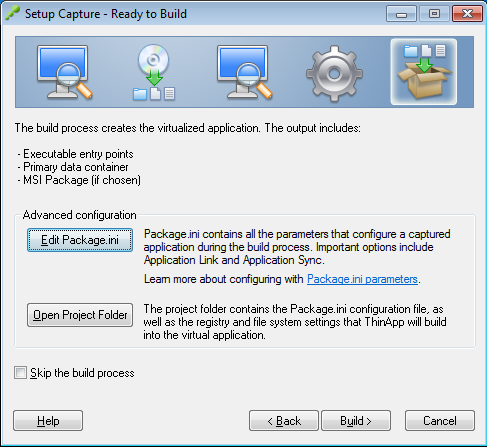 Setup Capture - Ready to Build - Edit Package.ini