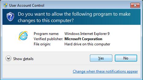 UAC - Internet Explorer 9