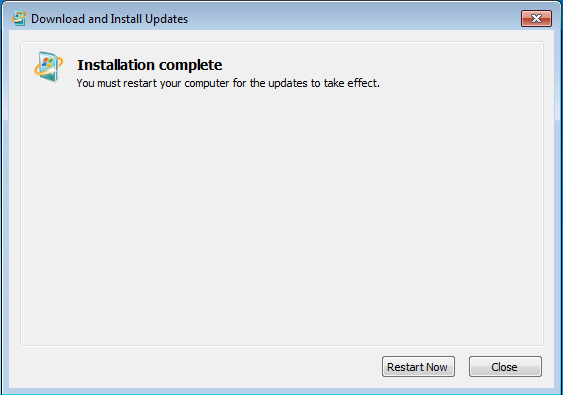 Windows Updates - Installation complete - Restart Now