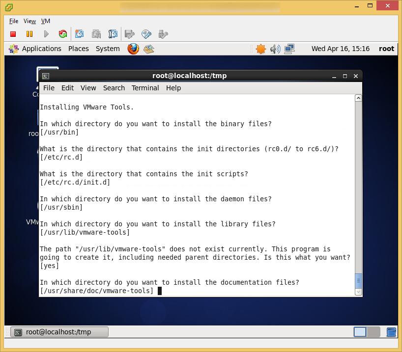 CentOS6 - VMware Tools - Install Default Values