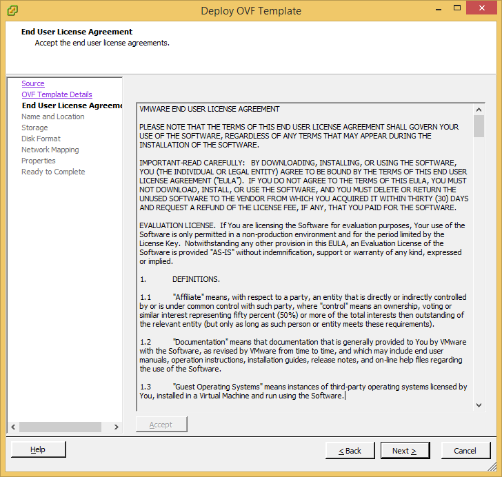 Deploy OVF Template - vShield Manager - Accept EULA