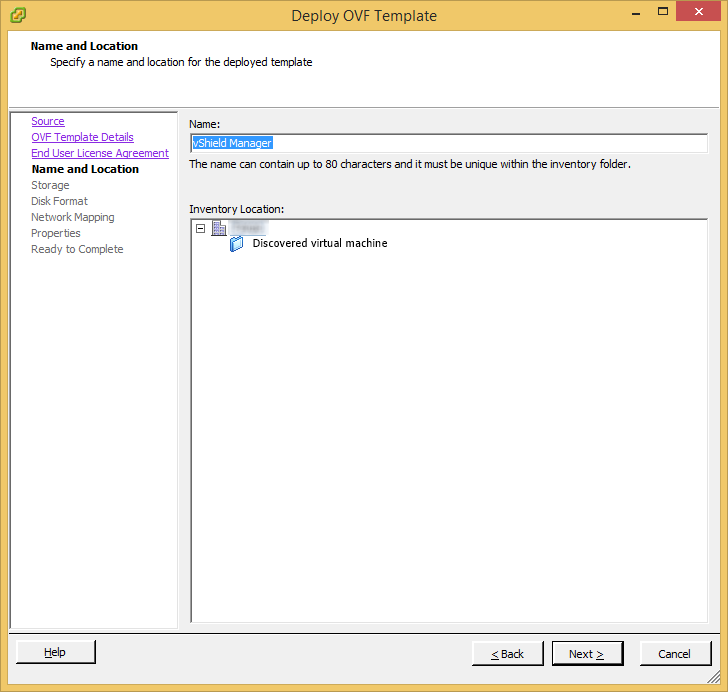 Deploy OVF Template - vShield Manager - Name and Location
