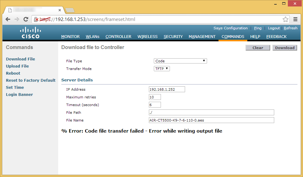 Error Code file transfer failed - Error while writing output file