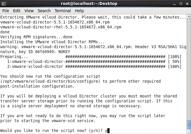 Install vmware-vcloud-director-5.5 - Run the script