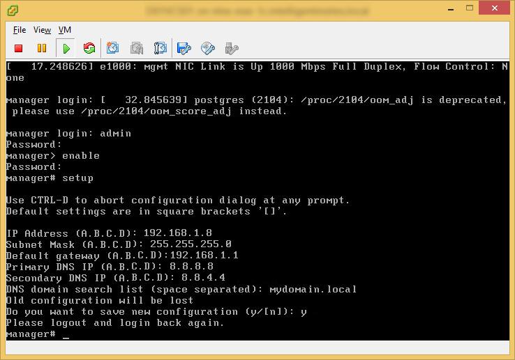 Login vShield Appliance - CLI - Network Setup - Logout