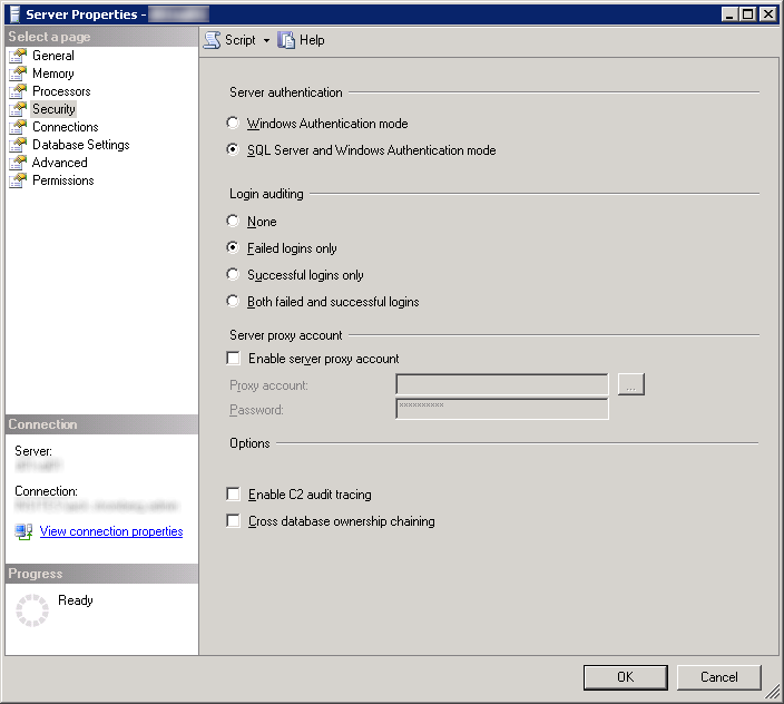 Server Properties - SQL Server and Windows Authentication Mode