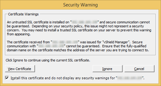 VMware Security Warning - SSL Certificate