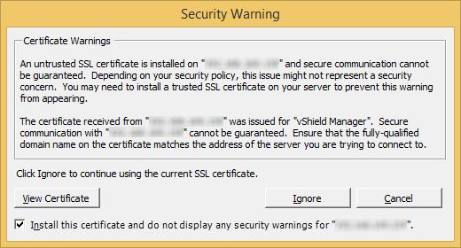 VMware Security Warning - SSL Certificate