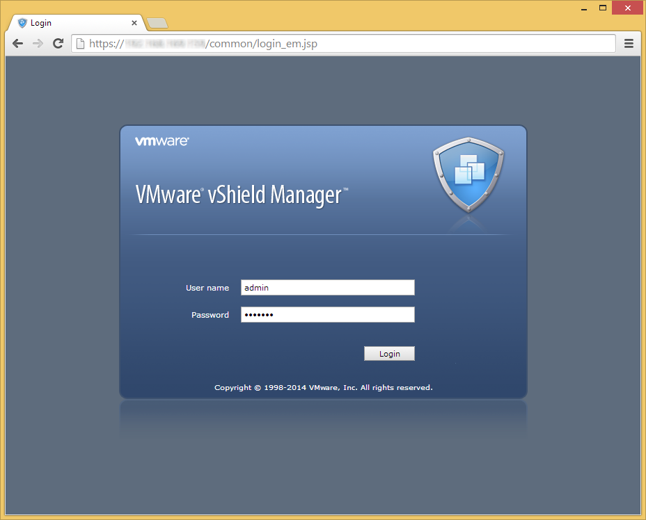 VMware vShield Manager - Login - Default Credentials