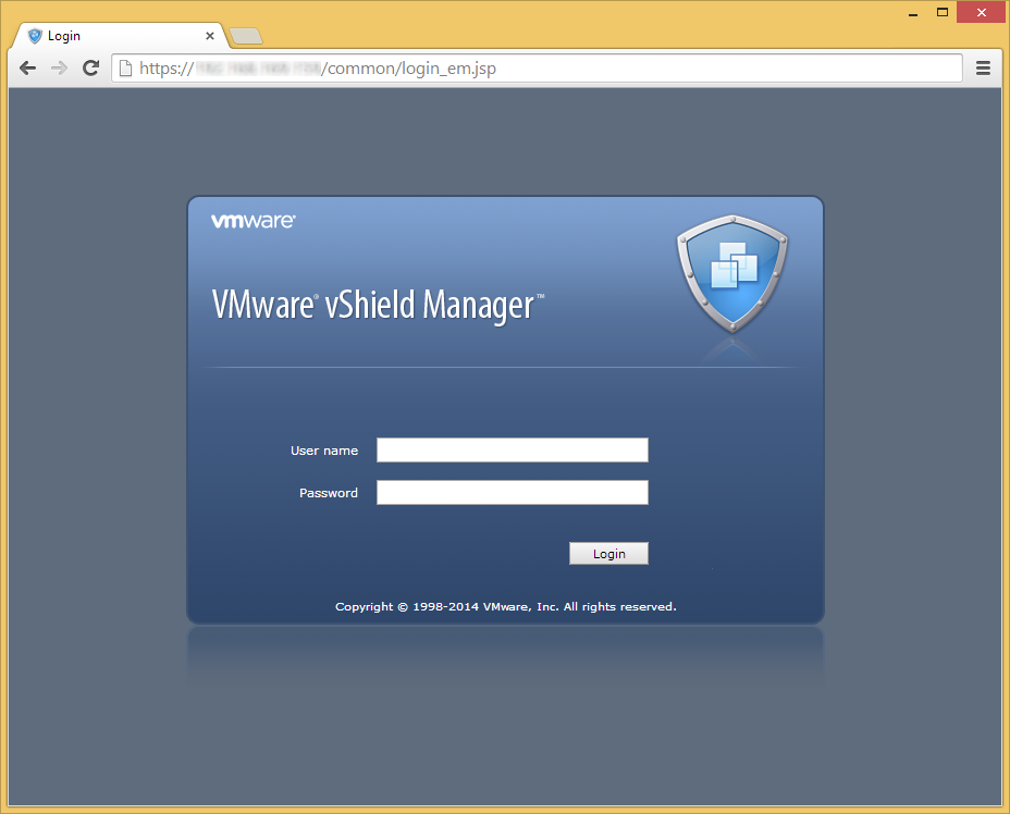VMware vShield Manager - Login