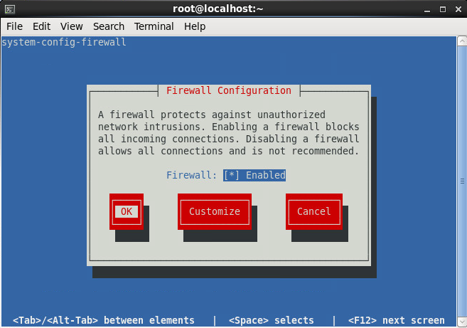 system-config-firewall-tui - Apply Rules