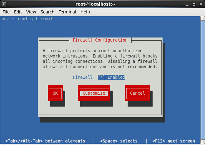 system-config-firewall-tui - Customize Rules