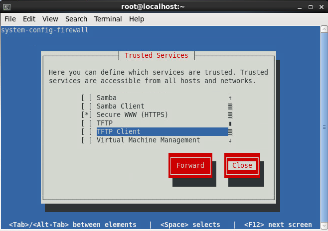 system-config-firewall-tui - Select Rules