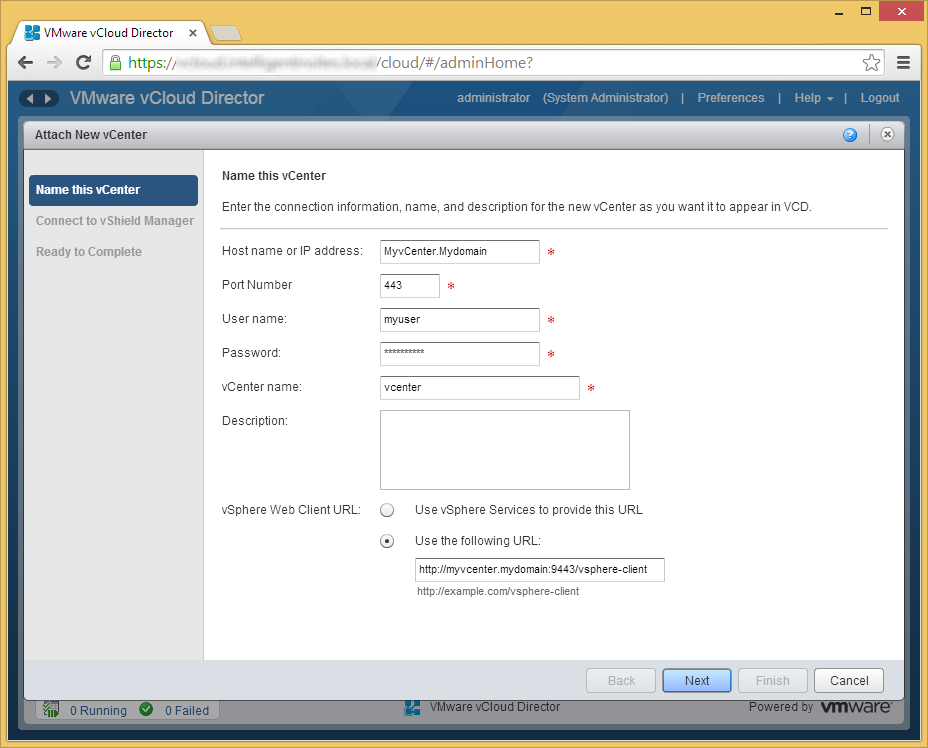 vCloud Director - Attach a vCenter - Name this vCenter