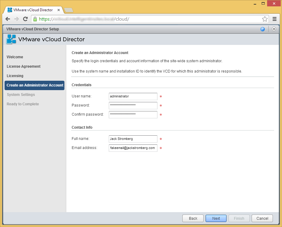 vCloud Director - Setup Wizard - Create an Administrator Account