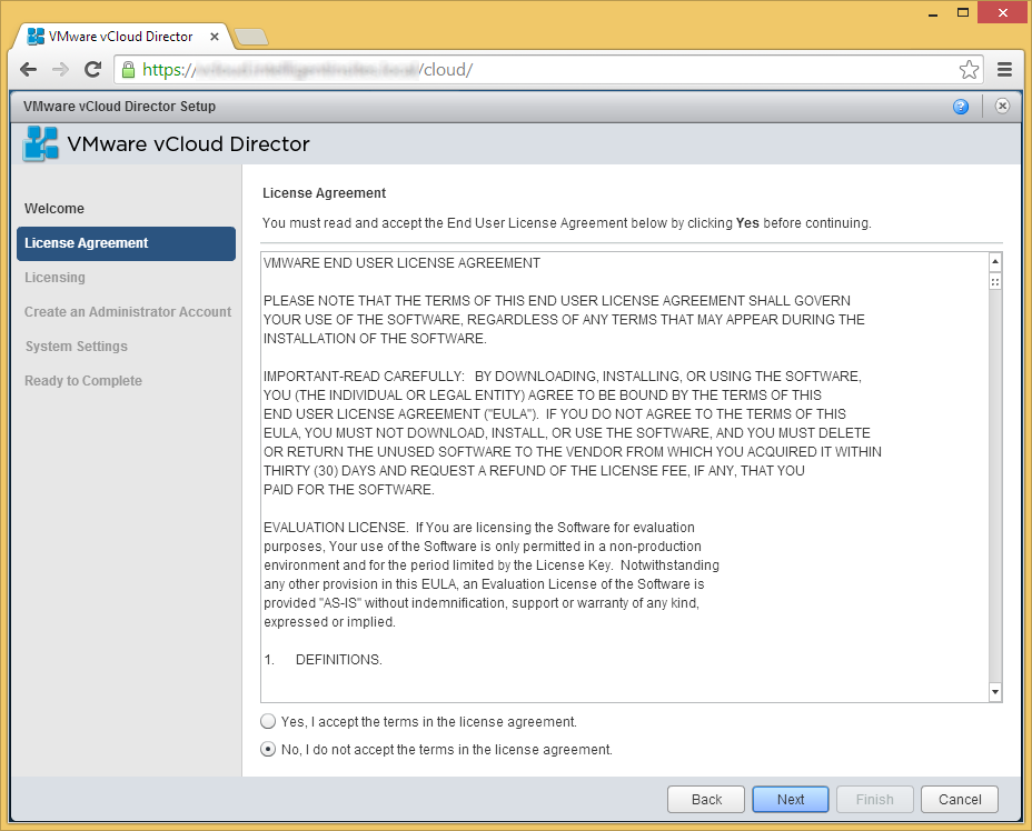 vCloud Director - Setup Wizard - License Agreement
