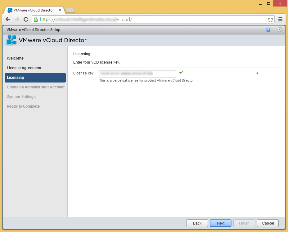 vCloud Director - Setup Wizard - Licensing