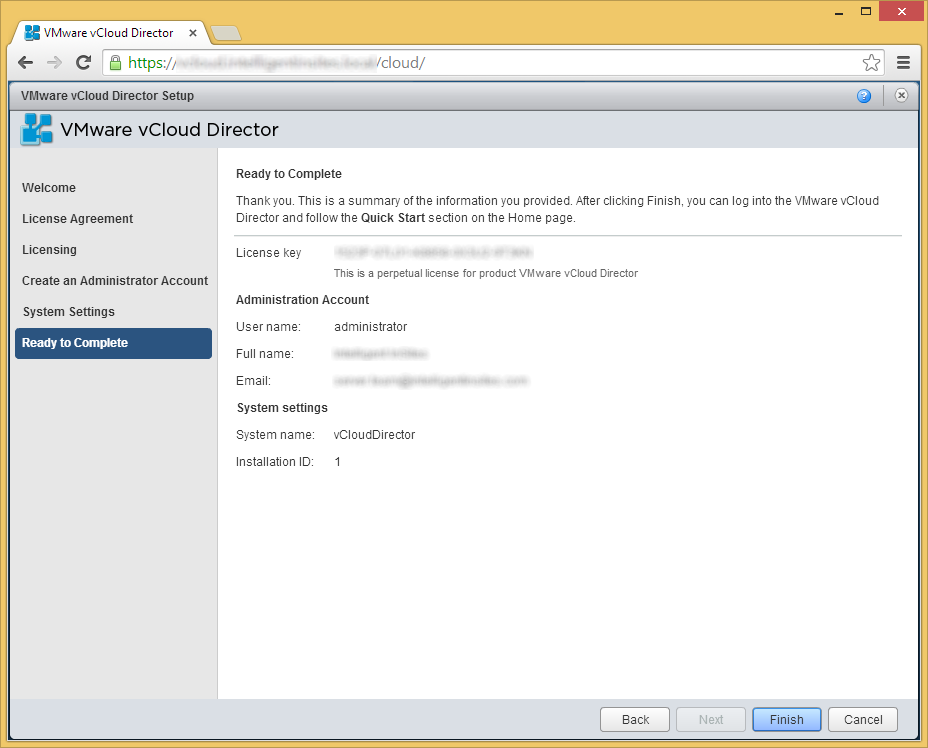 vCloud Director - Setup Wizard - Ready to Complete