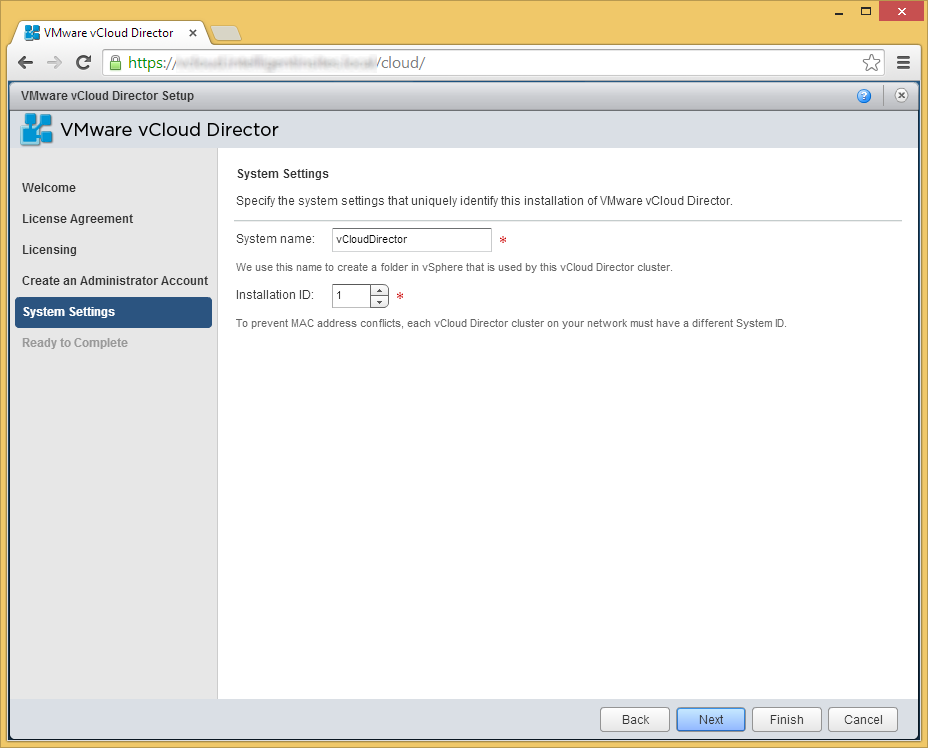 vCloud Director - Setup Wizard - System Settings