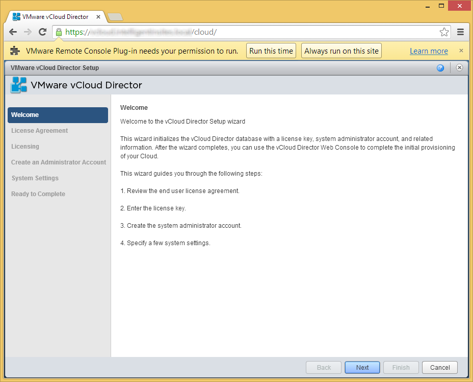 vCloud Director - Setup Wizard - Welcome