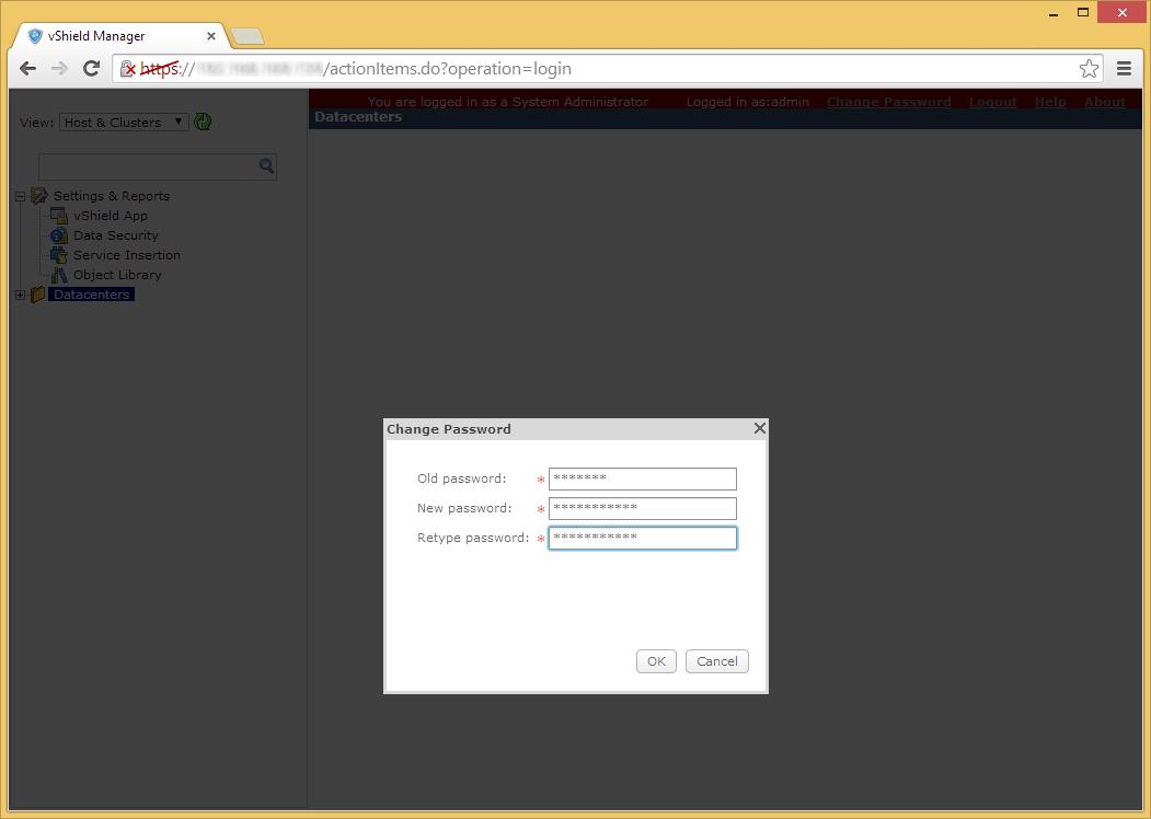 vShield Manager - Edit - Admin Password