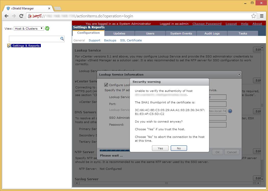 vShield Manager - Edit - Lookup Service - Verify SSL