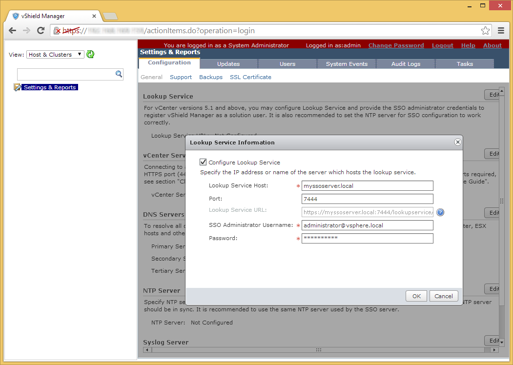 vShield Manager - Edit - Lookup Service