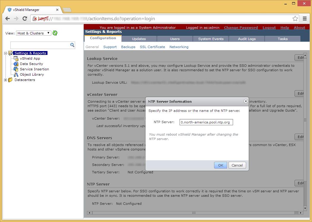 vShield Manager - Edit - NTP Server