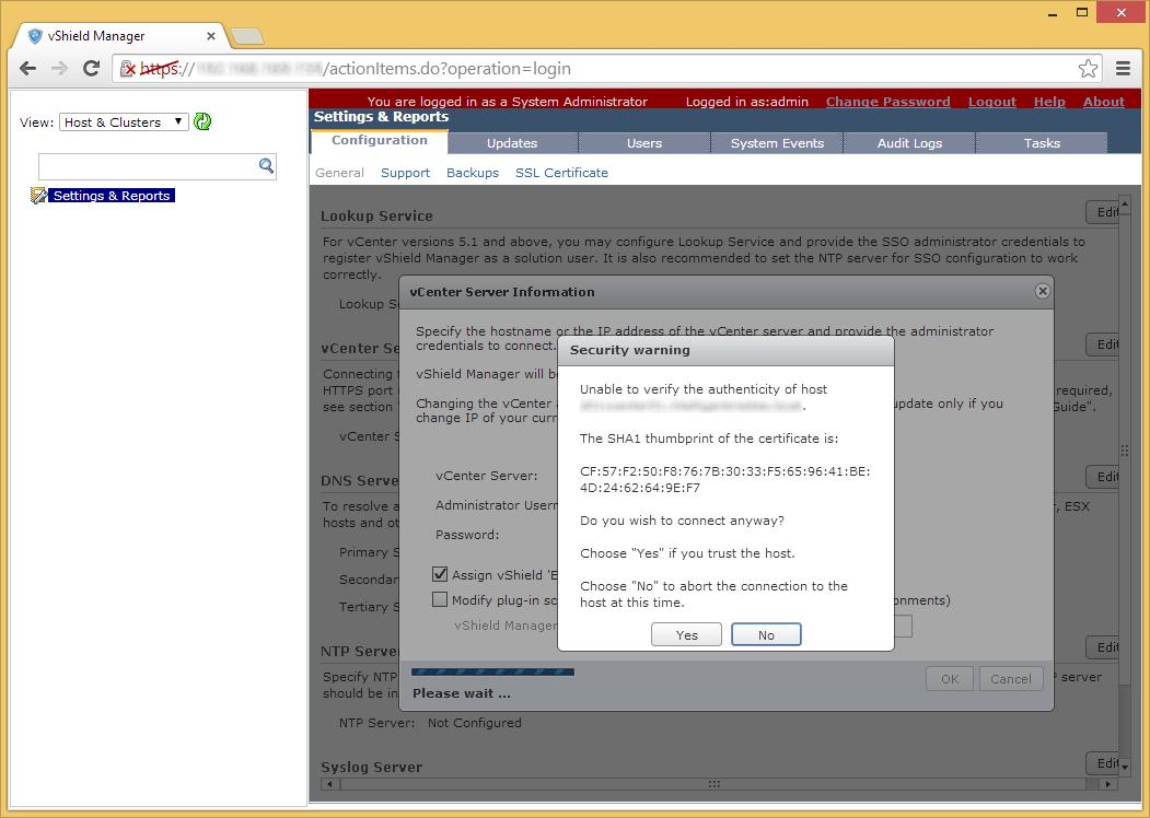 vShield Manager - Edit - vCenter Server - Verify SSL