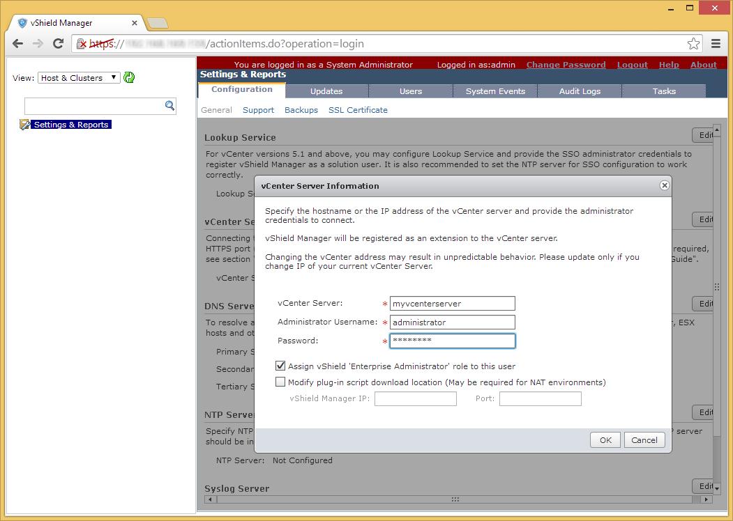 vShield Manager - Edit - vCenter Server