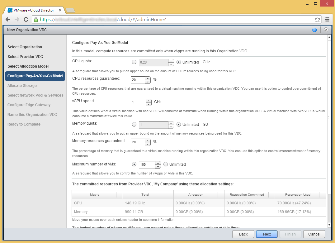 vCloud Director - Allocate resources to an organization - Configure Pay-As-You-Go Model