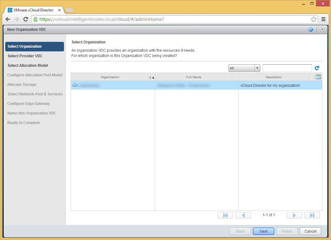 vCloud Director - Allocate resources to an organization - Select Organization