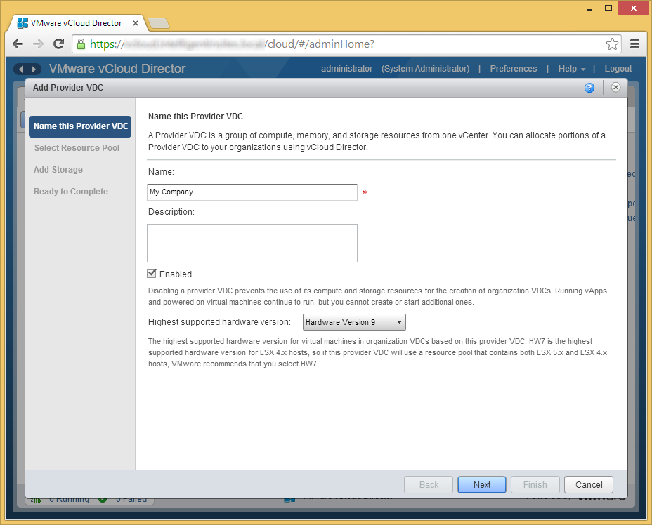 vCloud Director - Create Provider VDC - Name this Provider VDC
