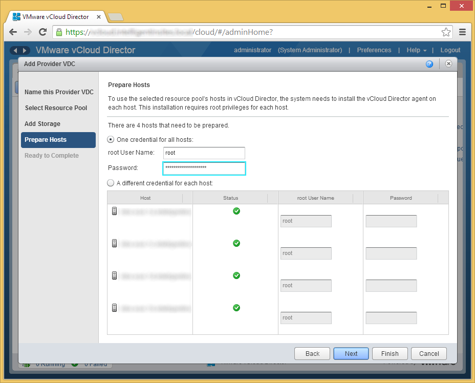 vCloud Director - Create Provider VDC - Prepare Hosts