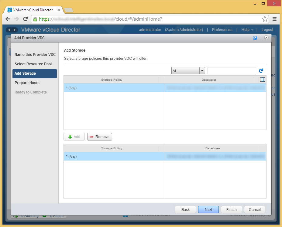 vCloud Director - Create Provider VDC - Select a Resource Pool - Add