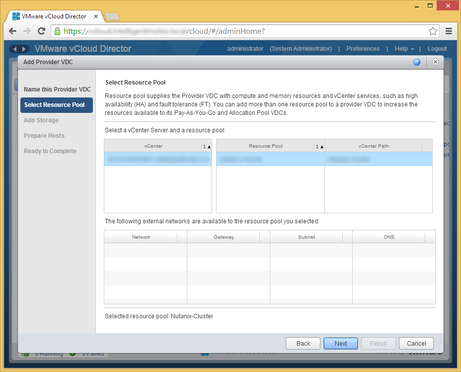 vCloud Director - Create Provider VDC - Select a Resource Pool