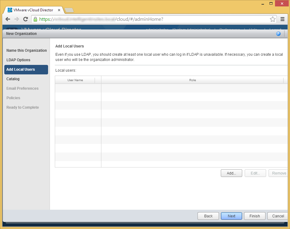 vCloud Director - Create a new organization - Add Local Users