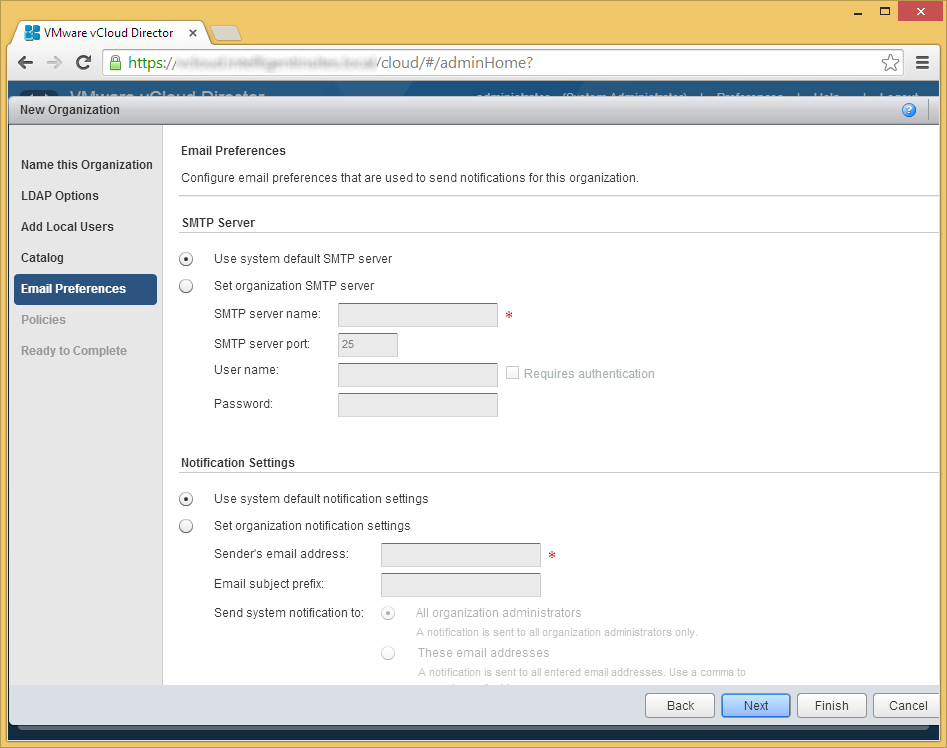 vCloud Director - Create a new organization - Email Preferences