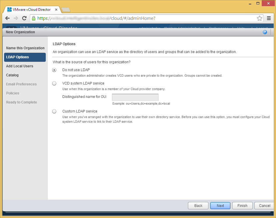 vCloud Director - Create a new organization - LDAP Options