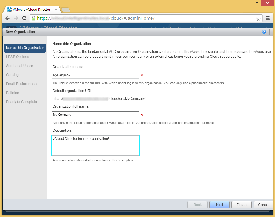 vCloud Director - Create a new organization - Name this Organization