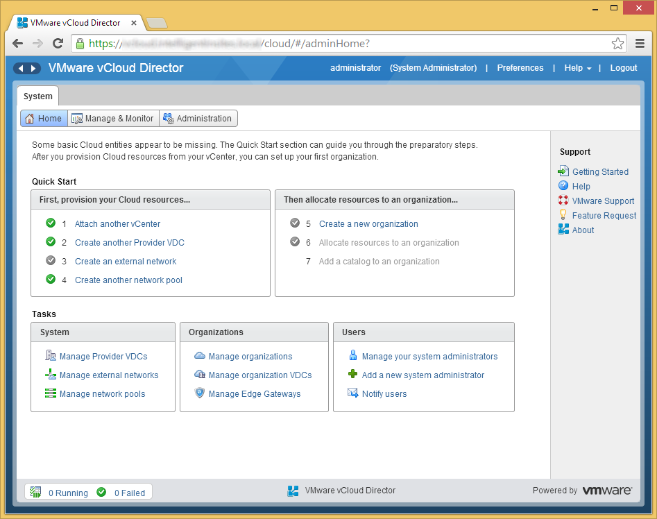 vCloud Director - Create a new organization