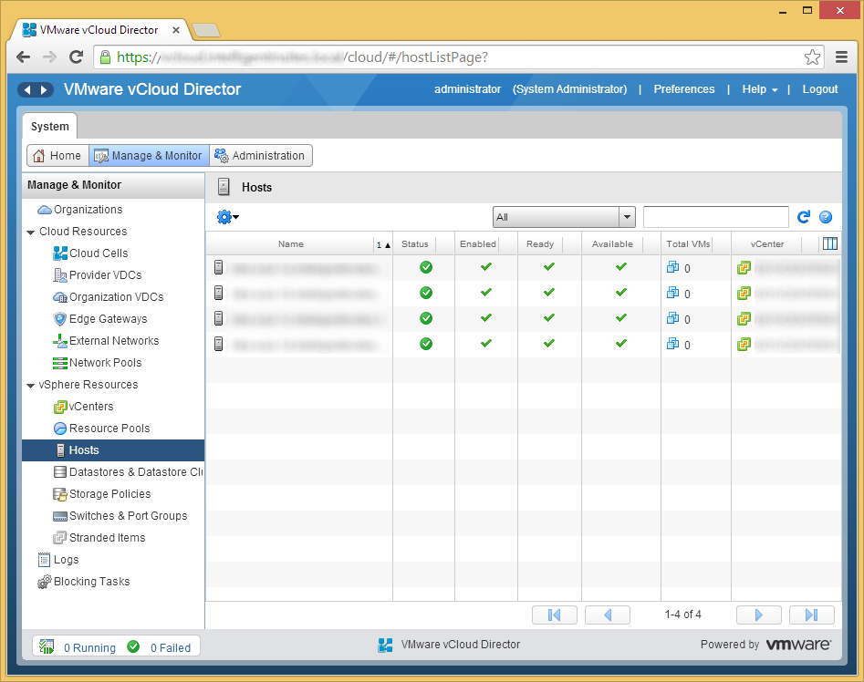 vCloud Director - Manage & Monitor - Prepare Host - Success All Hosts