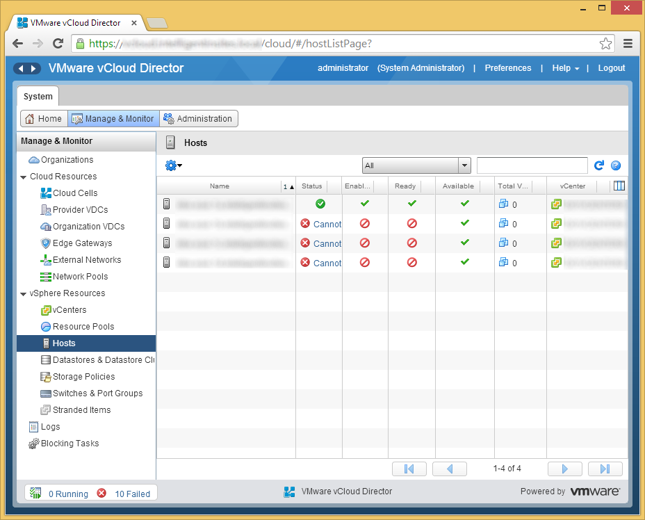 vCloud Director - Manage & Monitor - Prepare Host - Success