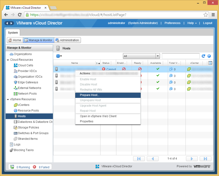 vCloud Director - Manage & Monitor - Prepare Host
