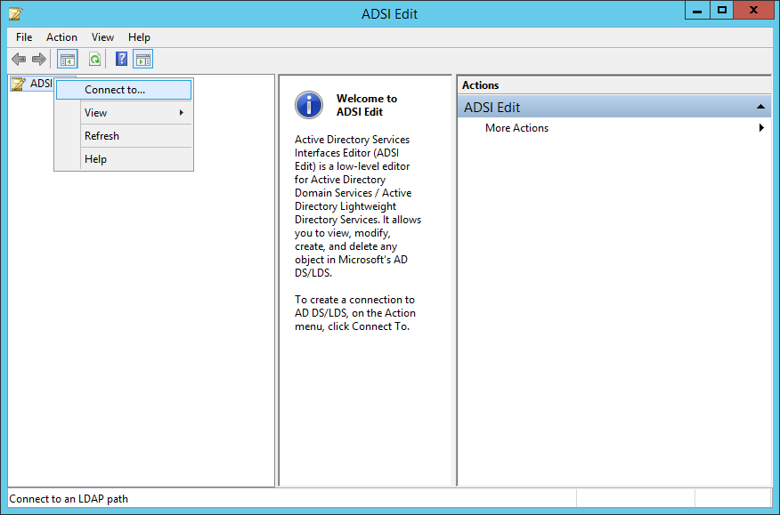 ADSI Edit - Connect To