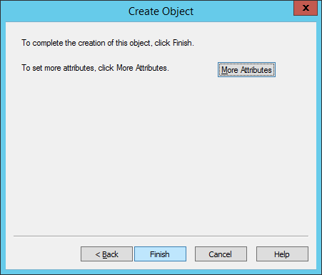 ADSI Edit - Create Object - Finish