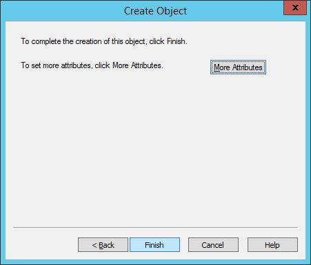 ADSI Edit - Create Object - Finish