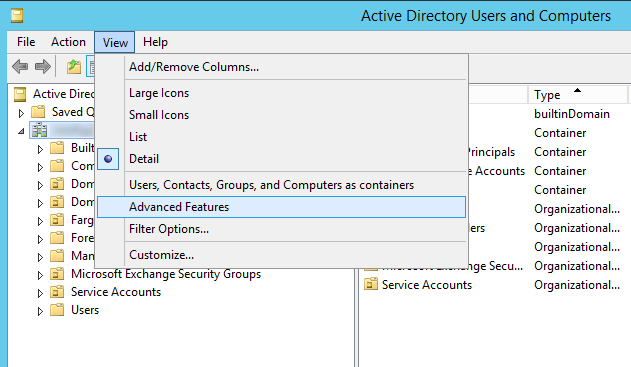 Active Directory Users and Computers - View - Advanced Features