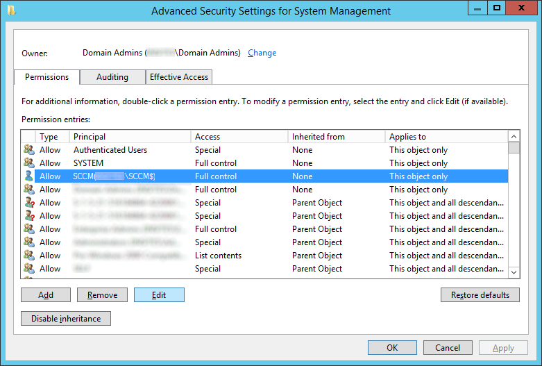 Advanced Security Settings for System Management - SCCM